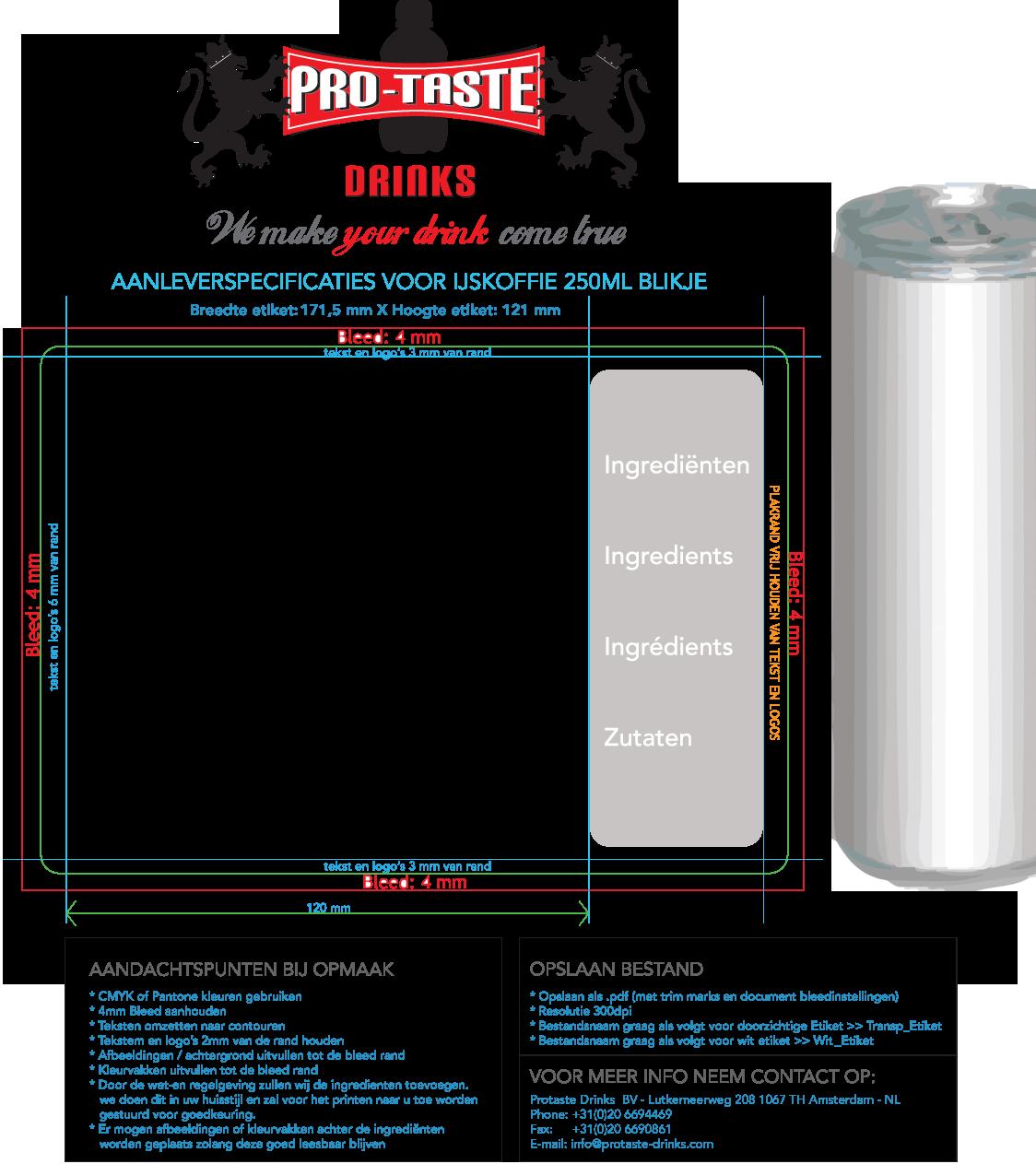 protaste aanleverspecificaties blikje ijskoffie